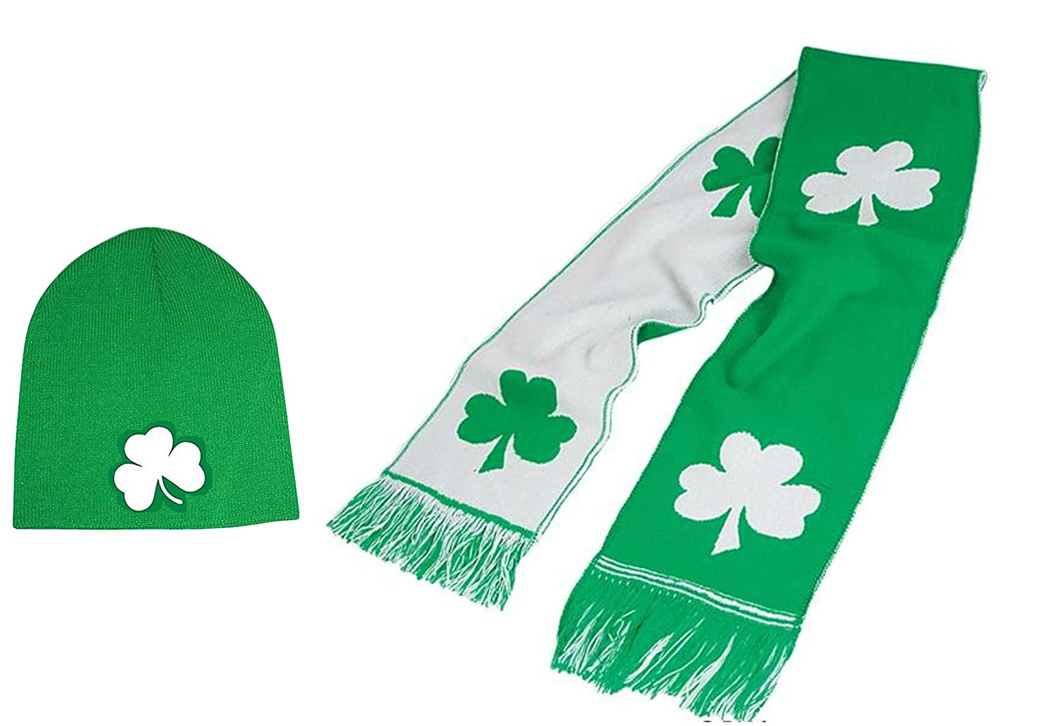 St Patricks Shamrock Scarf and Shamrock Beanie Hat - 2 Pack SK Novelty