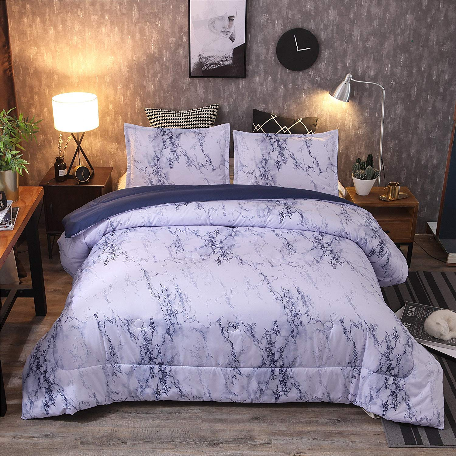 Blue-Marble A Nice Night Marble Design Quilt Comforter Set Bed-in-a-Bag,Queen