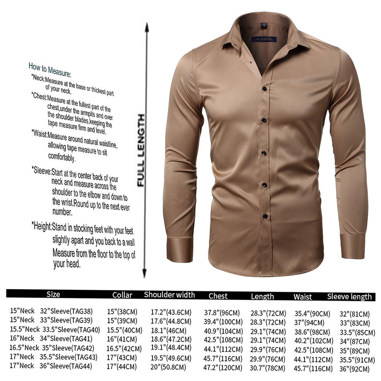 KelaSip Camicia da Uomo a Maniche Lunghe,Camicia Classica in Fibra di Bamb/ù,Camicia Business da Uomo Slim Fit,Camicia Casual
