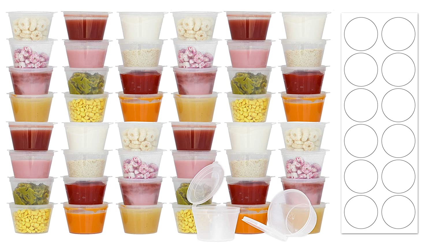 50 Pack BPA-Free Baby Food Freezer Storage Containers Hinged Lids (3 oz) Labels | Leak-Proof | Travel Snack Cups | Store Homemade, Organic Purees | Freezer Dishwasher Safe