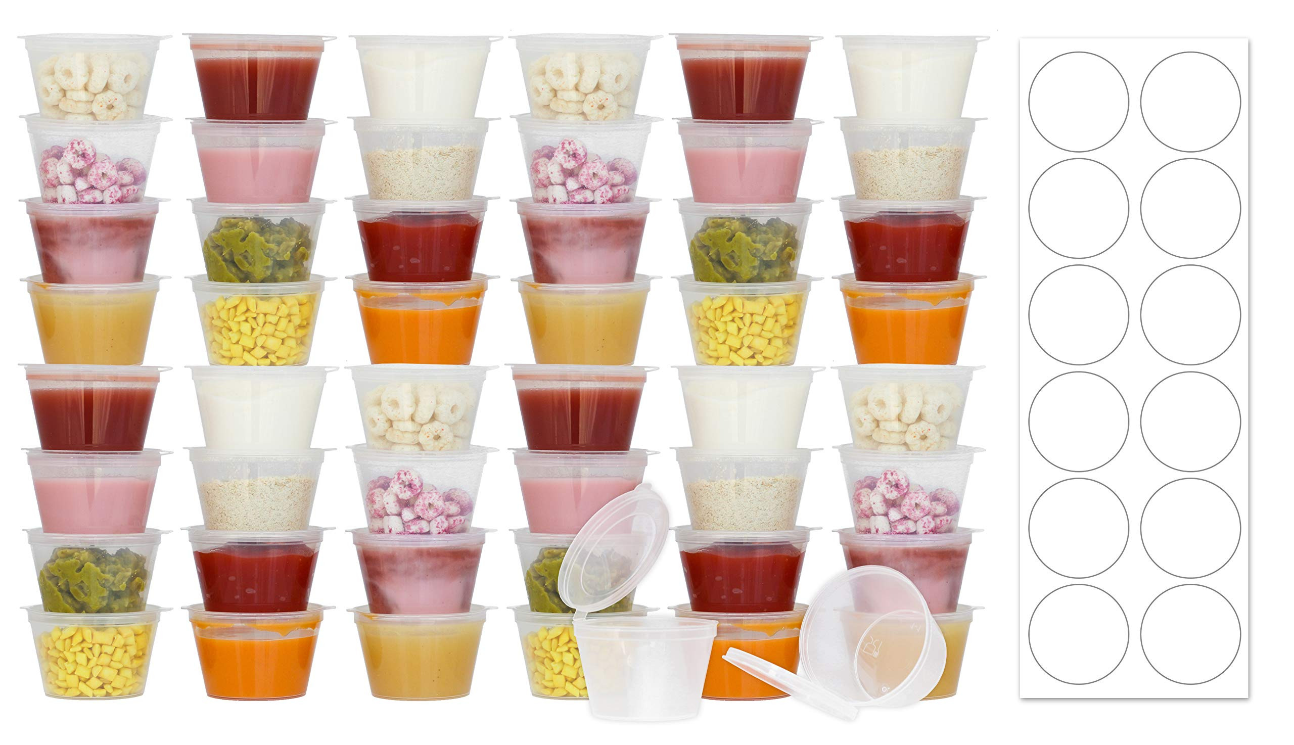 50 Pack BPA-Free Baby Food Freezer Storage Containers Hinged Lids (3 oz) Labels | Leak-Proof | Travel Snack Cups | Store Homemade, Organic Purees | Freezer Dishwasher Safe by Tovla