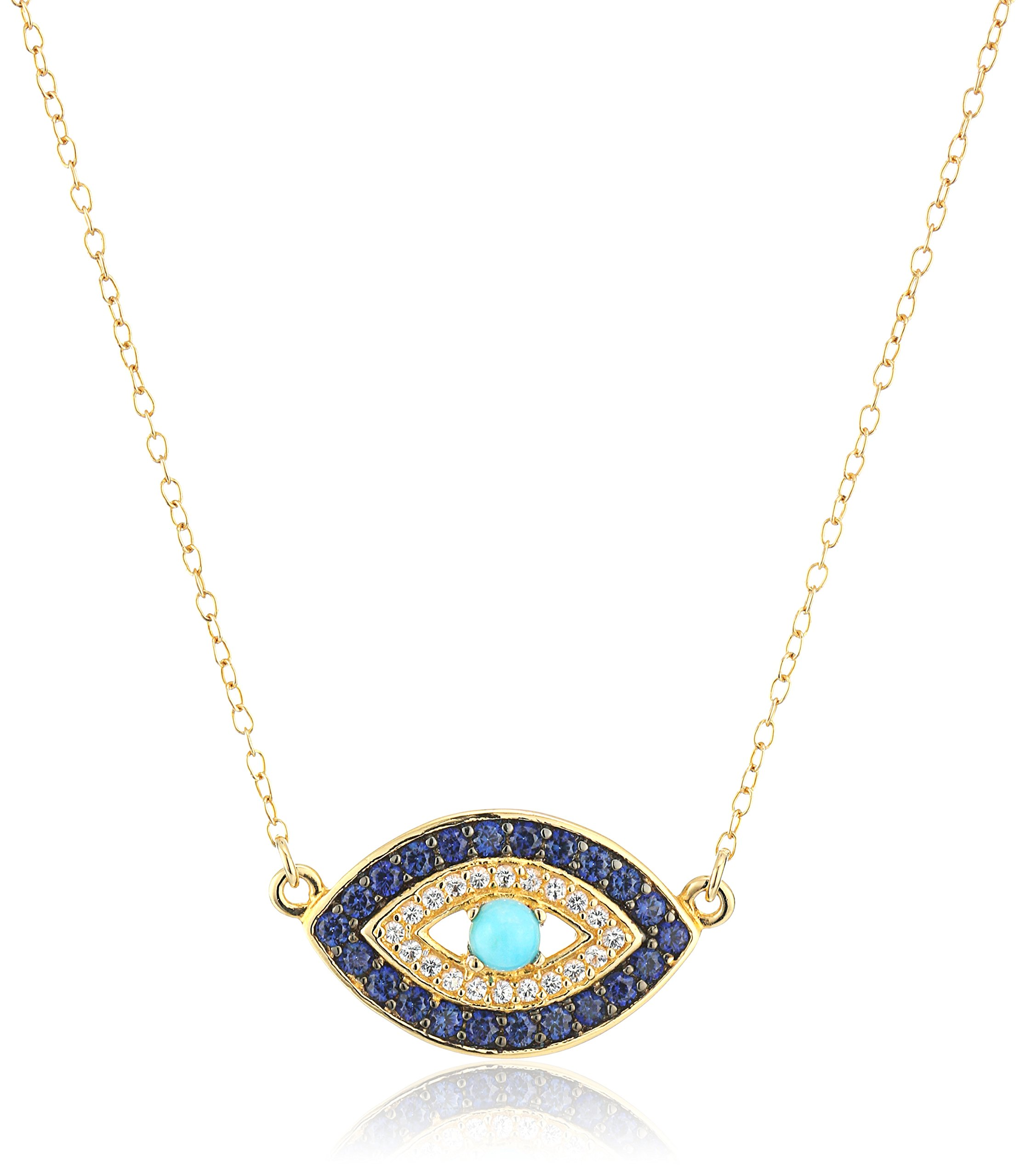 18k Yellow Gold Plated Sterling Silver Stabilized Turquoise with Created Blue and White Sapphire Evil Eye Necklace, 18''