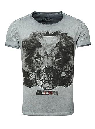 b730f4c529b9bb Key Largo Herren T-Shirt REBEL Vintage Optik Printshirt Löwe Totenkopf  Skull Lion  Amazon.de  Bekleidung