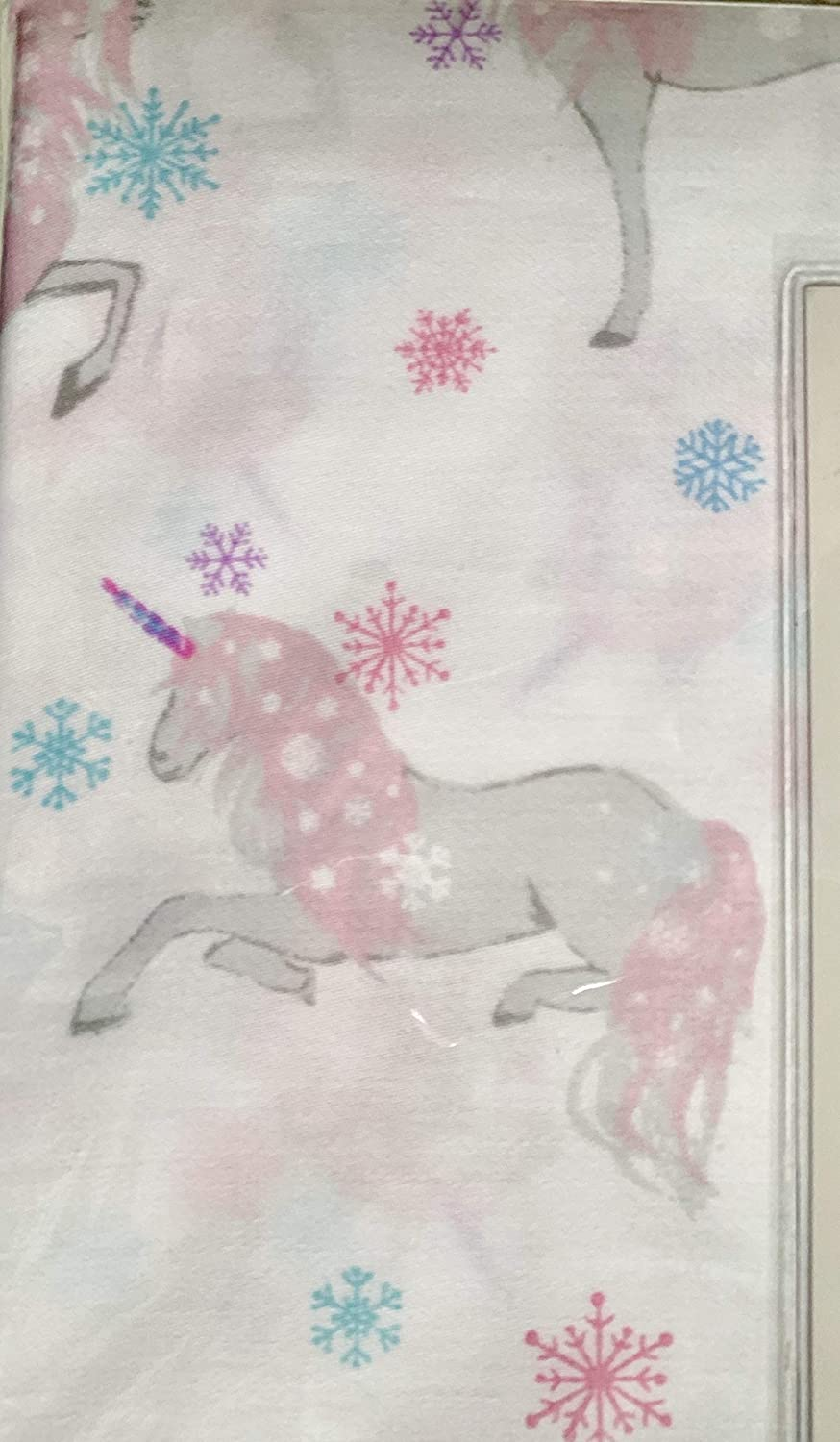 Hillcrest Unicorns and Snowflakes Winter Sheet Set Twin