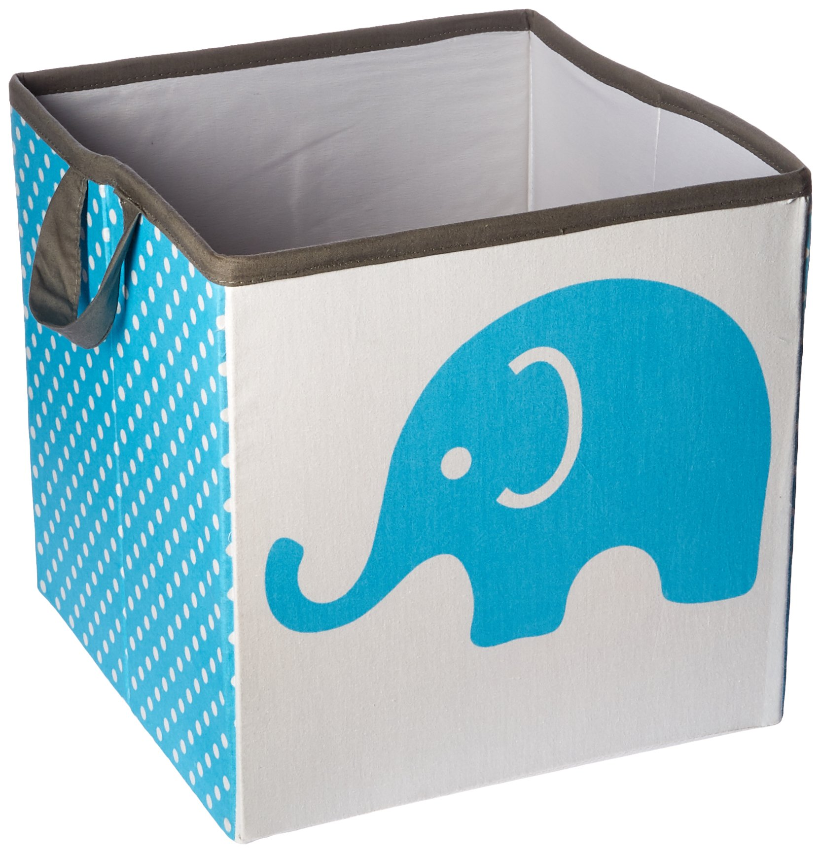 Bacati Elephants Storage Tote Basket, Aqua/Lime/Grey, Small