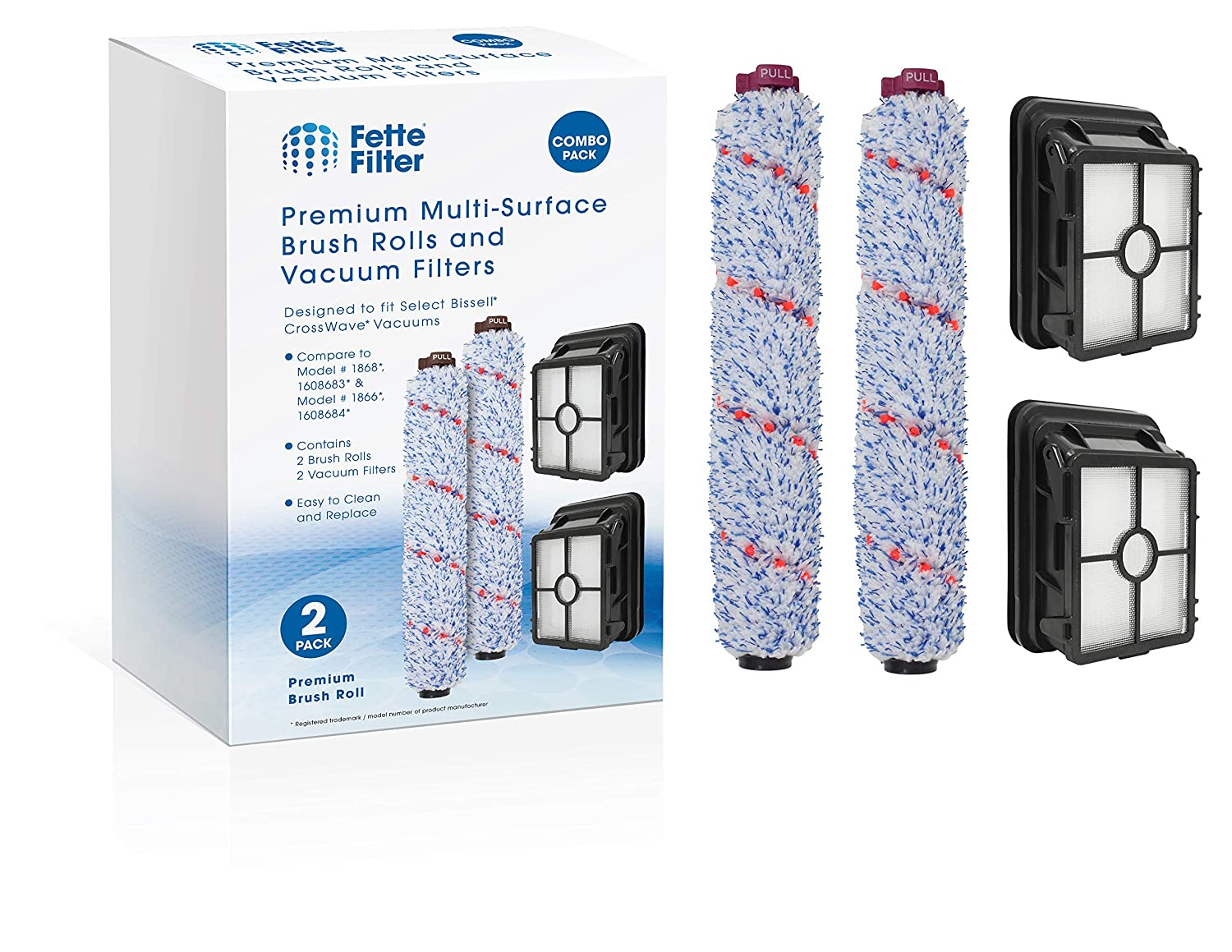 Fette Filter - Gentle Clean Multi Surface 1868 Brush Roll and 1866 Vacuum Filter Compatible with Bissell CrossWave. Compare to Part # 1608683, 160-8683, 1608684. (Combo Pack)