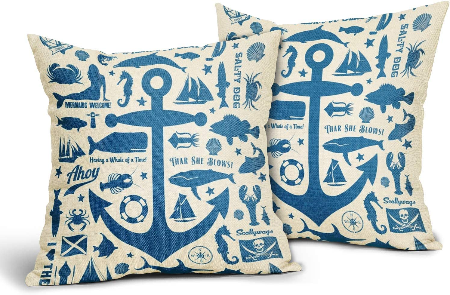 Kawani Set of 2 Blue Nautical Anchor Throw Pillow Covers 18x18 Inch Soft Cotton Linen Sea Turtle Pillowcase Farmhouse Home Nautical Decor Pillows Cover Gifts for Car Cabin Bed Couch Sofa Living Room