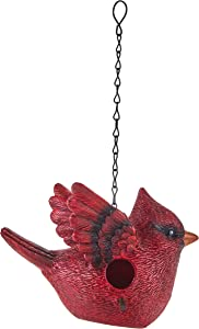 The Lakeside Collection Bird Shaped Birdhouse with Hanging Chain for Outdoor Trees, Patios - Cardinal