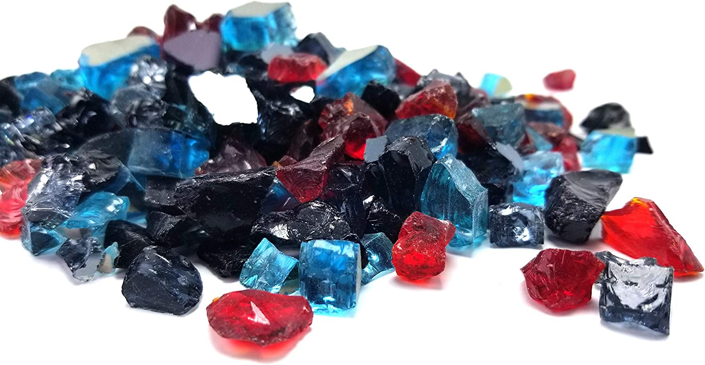 Fireplace /& Fire Pit Glass Crystals Black Red Blue Blend Reflective Fireglass