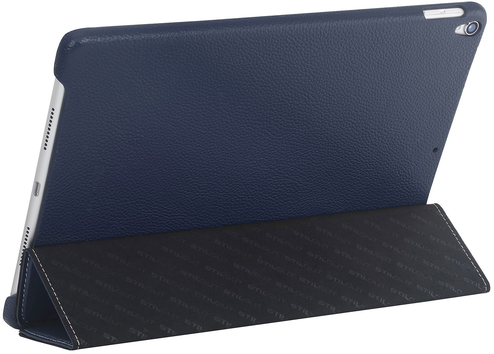 StilGut Couverture, Case for iPad Pro 10.5'' (2017 Edition), Genuine Leather Case with Folded Cover Design, Stand Function & Smart-Cover (Auto Sleep, Wake-up), Midnight Blue