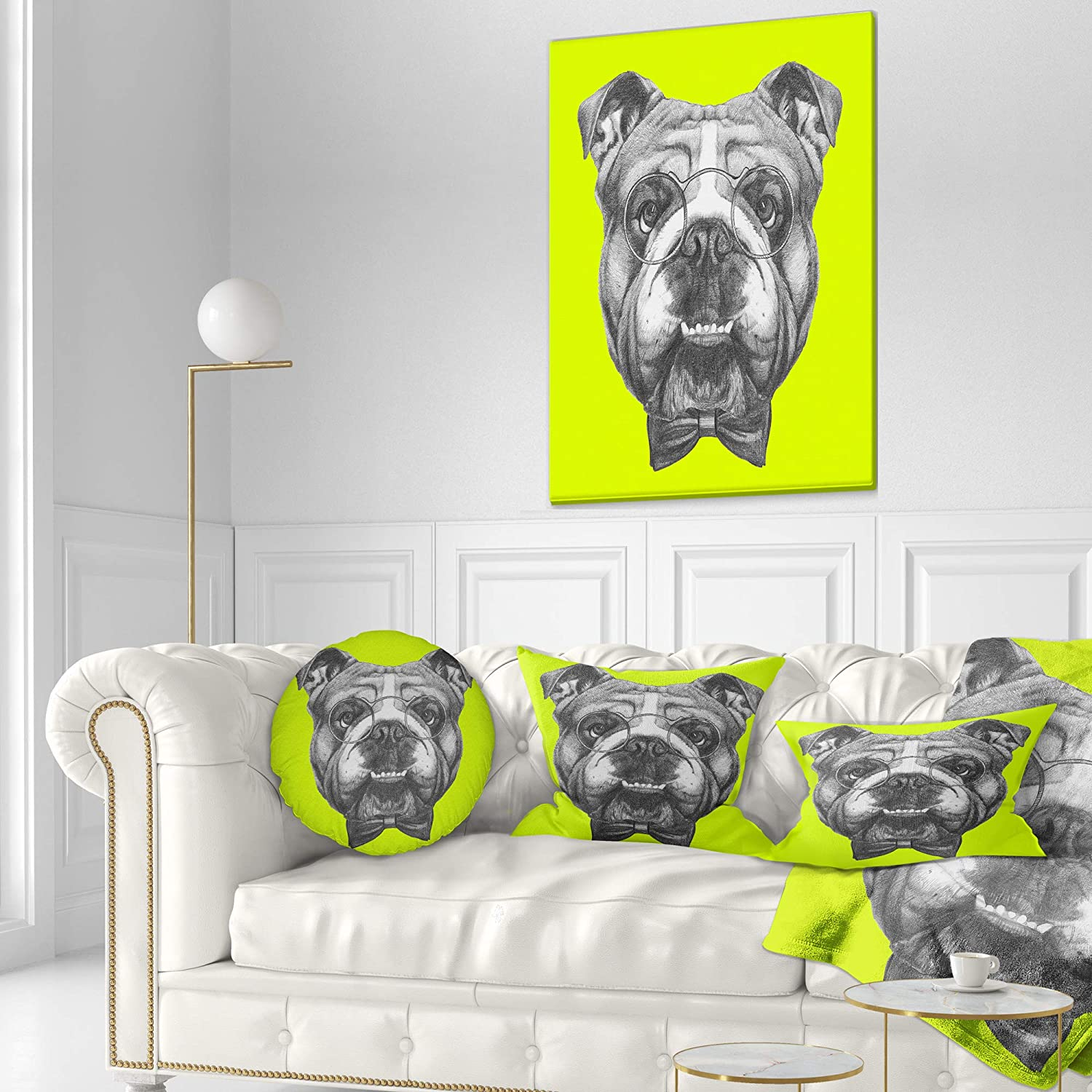 Sofa Throw Pillow 20 Designart CU13202-20-20-C English Bulldog with Bow Tie Contemporary Animal Round Cushion Cover for Living Room