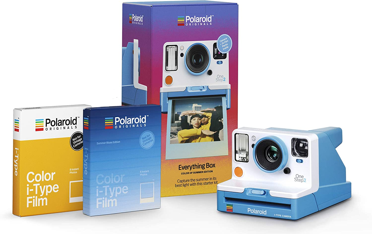 Amazon Com Polaroid Originals 4937 Everything Box Onestep 2 Vf Summer Blue Camera And Film Bundle Camera Photo