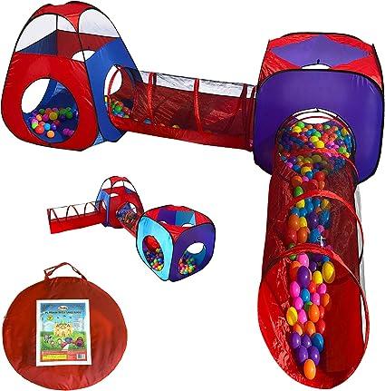 Large Children Pop Up Playhouse Ball Pit 4Pc Crawl Tunnels Box Tents Storage Bag