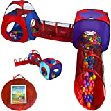 Playz 4pc Pop Up Children Play Tent w/ 2 Crawl Tunnel & 2 Tents - Kids Tents for Boys, Girls, Babies & Toddlers for Indoor &