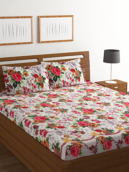 Bombay Dyeing Amber 160 TC Microfibre Double Bedsheet with 2 Pillow Covers (Pink)