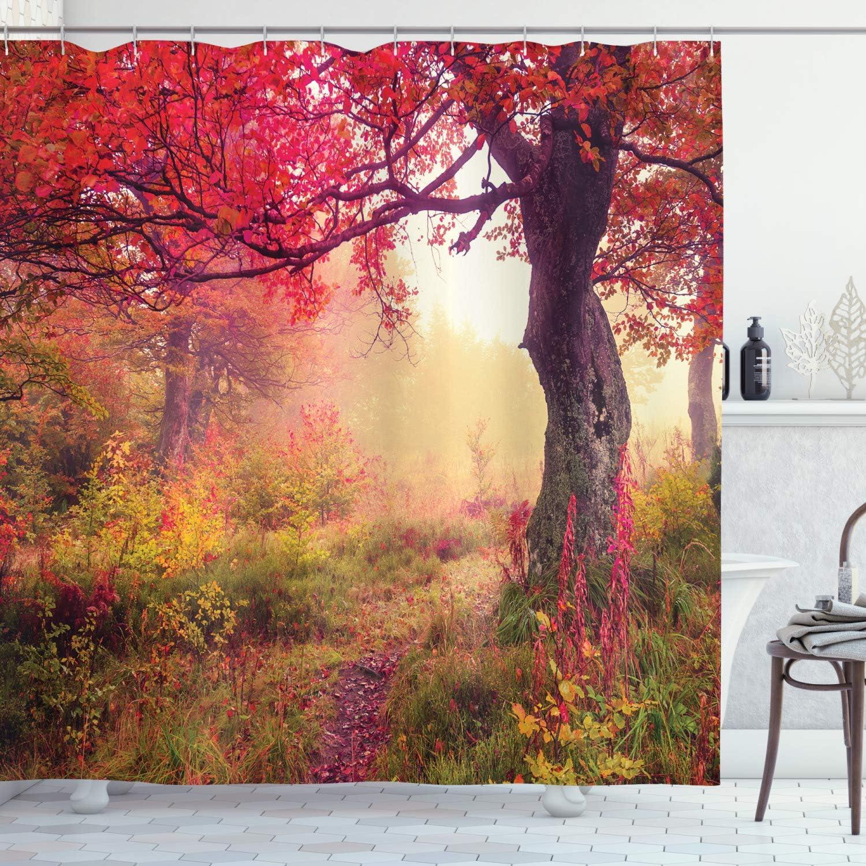 Ambesonne Landscape Shower Curtain, Majestic Landscape with Colorful Autumn Trees Foggy Forest Ukraine Image, Cloth Fabric Bathroom Decor Set with Hooks, 75