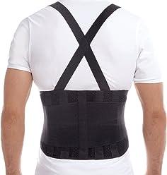 TOROS-GROUP Faja para la espalda para hombres con tirantes- apoyo lumbar para el dolor en la parte inferior de la espalda, cinturón de culturismo -Faja Lumbar-Soporte Lumbar para Aliviar el Dolor y Lesiones-Cinturon Lumbar Prevenir Daños-Doble Ajuste Para una Adaptación Perfecta-Para Hombre y Mujer - Medium