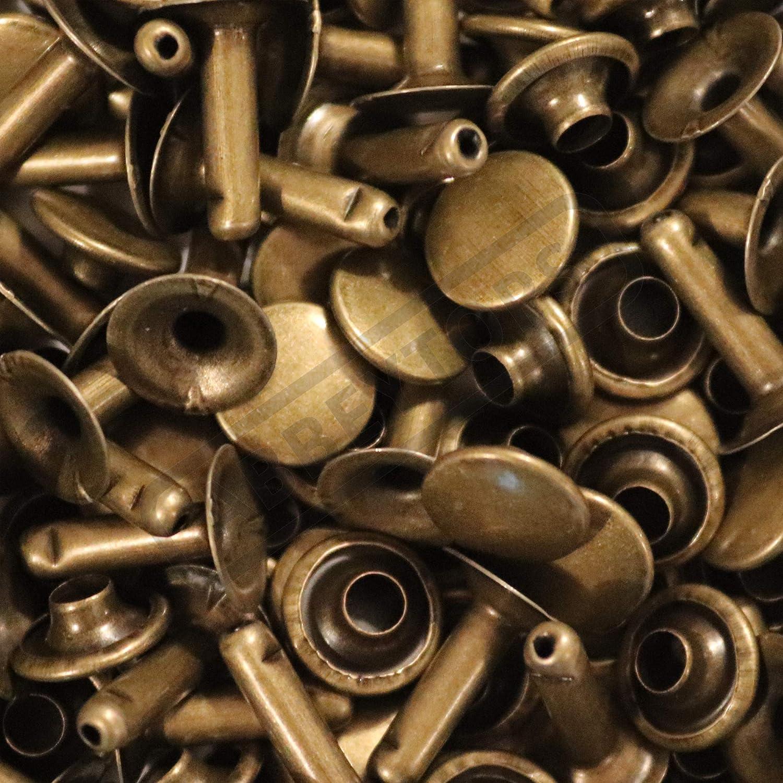 7x7mm, Antique Brass Abbeytops Single Cap Rivets 6x5 7x7 9x8 /& 9x12 Stud Rapid Rivets Leather Craft Repair