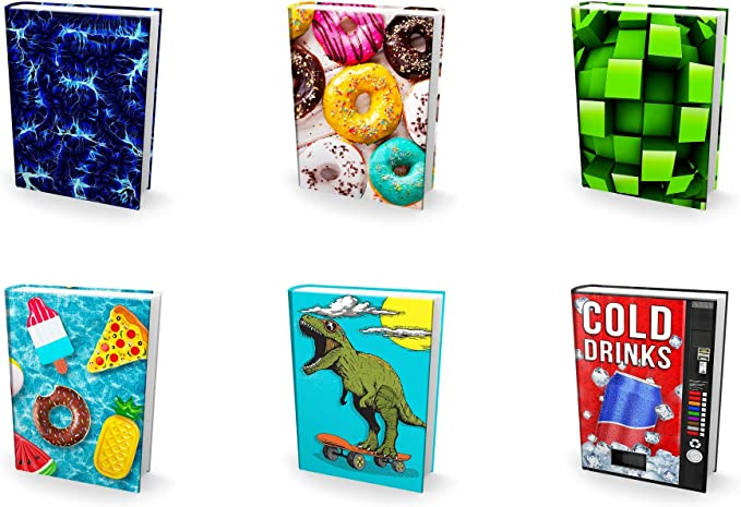 4 Solids /& 1 Surprise Print The Original Book Sox Stretchable Jumbo Fabric Book Cover