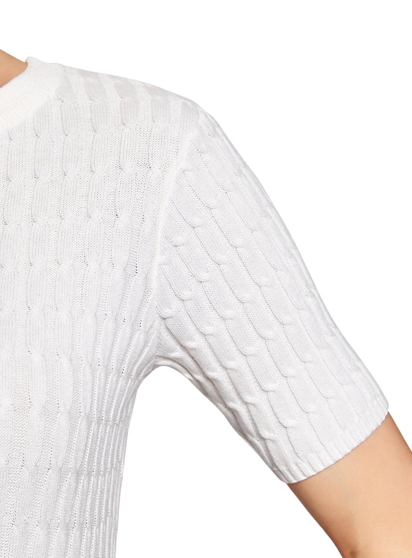 oodji Ultra Damen Kurz/ärmliger Pullover mit Zopfmuster