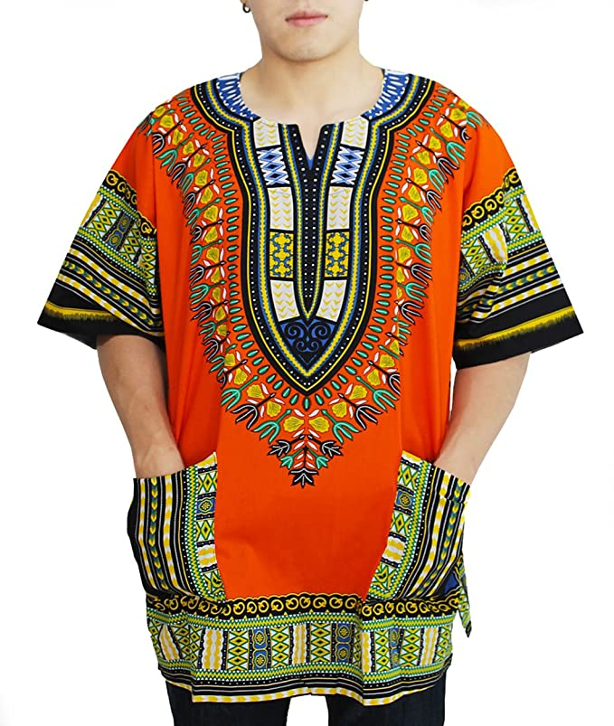 PAGADA BRAND African Dashiki Shirts Collection, Angelina print 100% Cotton,  M - XL Size