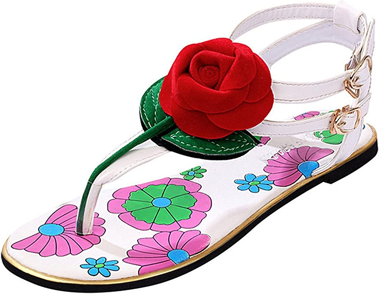 Zalezing Comfortable Women Girls Open Toe Rose Flower Flip Flops Sandal Thongs Flat Heel Beach Sandals