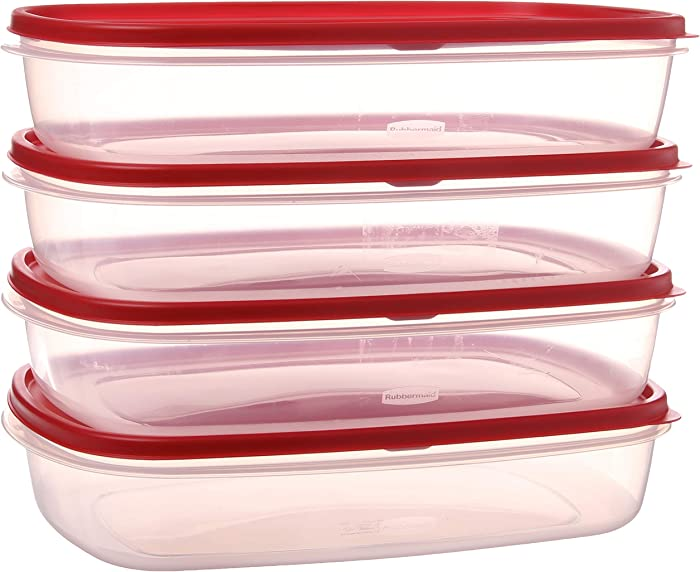 Rubbermaid SYNCHKG096961 644766082353 Easy Find Lid Food Storage Container, BPA-Free Plastic, 1-1/2 Gal (4-Pack), Clear