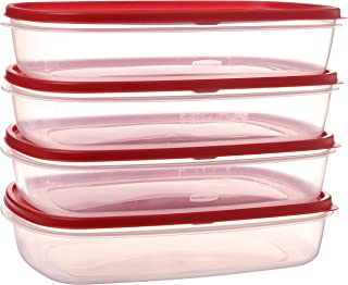 product image for Rubbermaid 644766082353 Easy Find Lid Food Storage Container, BPA-Free Plastic, 1-1/2 Gal (4-Pack), Clear