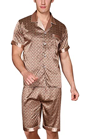 326e9029ca Yanqinger Mens Satin Pajamas Soft Polyester Short Sleepwear Set with a Pocket  Button-Down Design