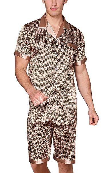 Yanqinger Set de 2 Piezas Pijamas Satén para Hombre Elegante Clásico Sleepwear con Mangas Corta Pantalones