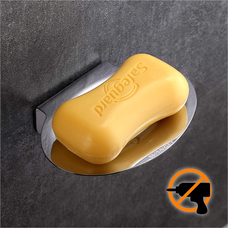 Wangel Adhesivo Fuerte Jabonera, Pegamento Patentado + Autoadhesivo, Acero Inoxidable, Acabado Pulido product