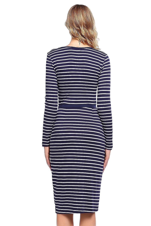 9bd07dd678 ELESOL Juniors Striped Mini Dress Long Sleeve Knee Length Bodycon Dress  Blue White S at Amazon Women s Clothing store