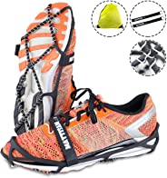 MATTISAM Traction Cleats Crampons for Walking on Snow and Ice Anti-Slip Ice Grips Snow Grips Universal Size Lightweight Ice Grippers with Safety Straps & Storage Bag Perfect for Jogging Or Hiking