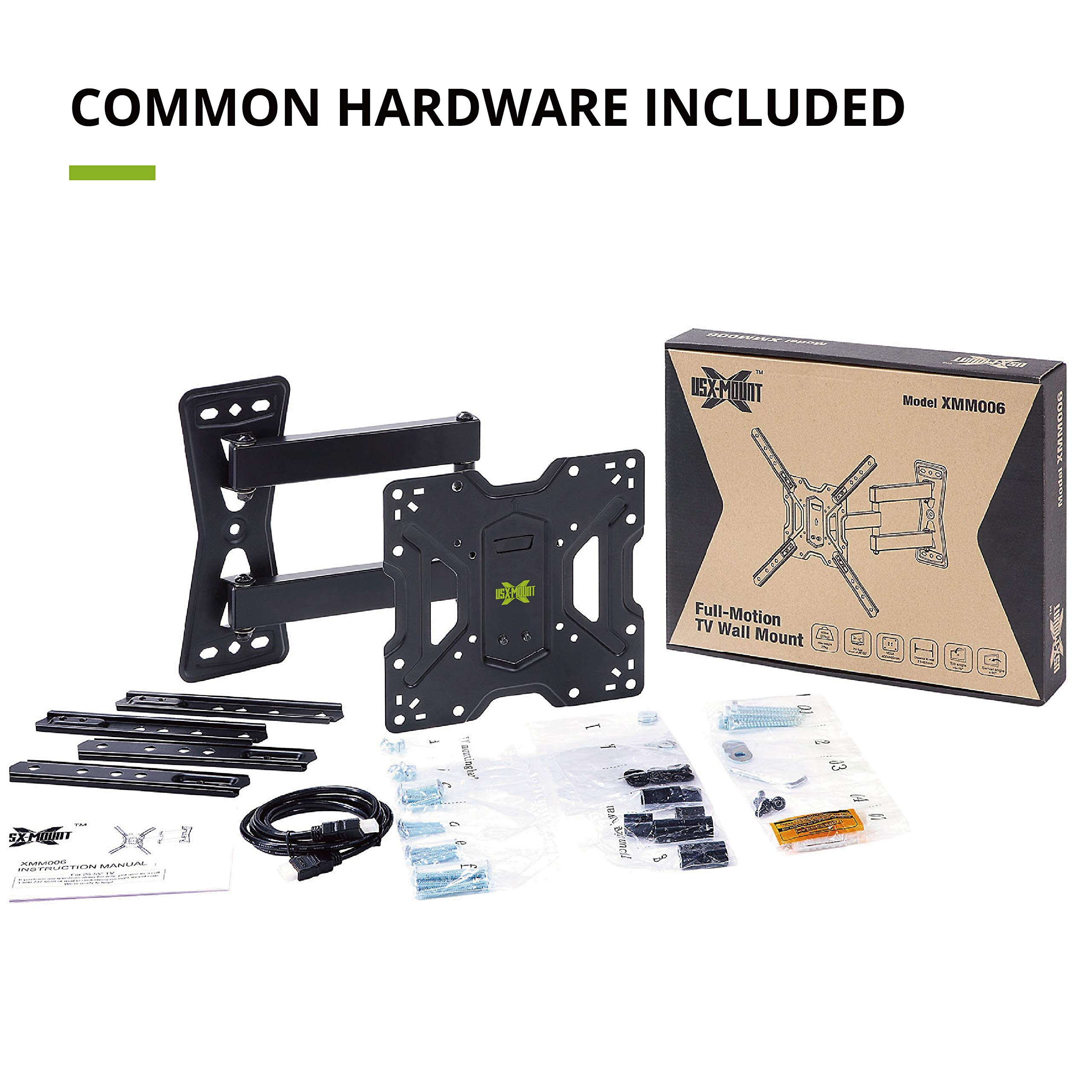 USX MOUNT Full Motion Swivel Articulating Tilt TV Wall Mount Bracket for 26-55'' LED, OLED, 4K TVs-Fit for 32, 40, 50 TV with VESA Up to 400x400mm-Weight Capacity Up to 60lbs by USX MOUNT (Image #4)