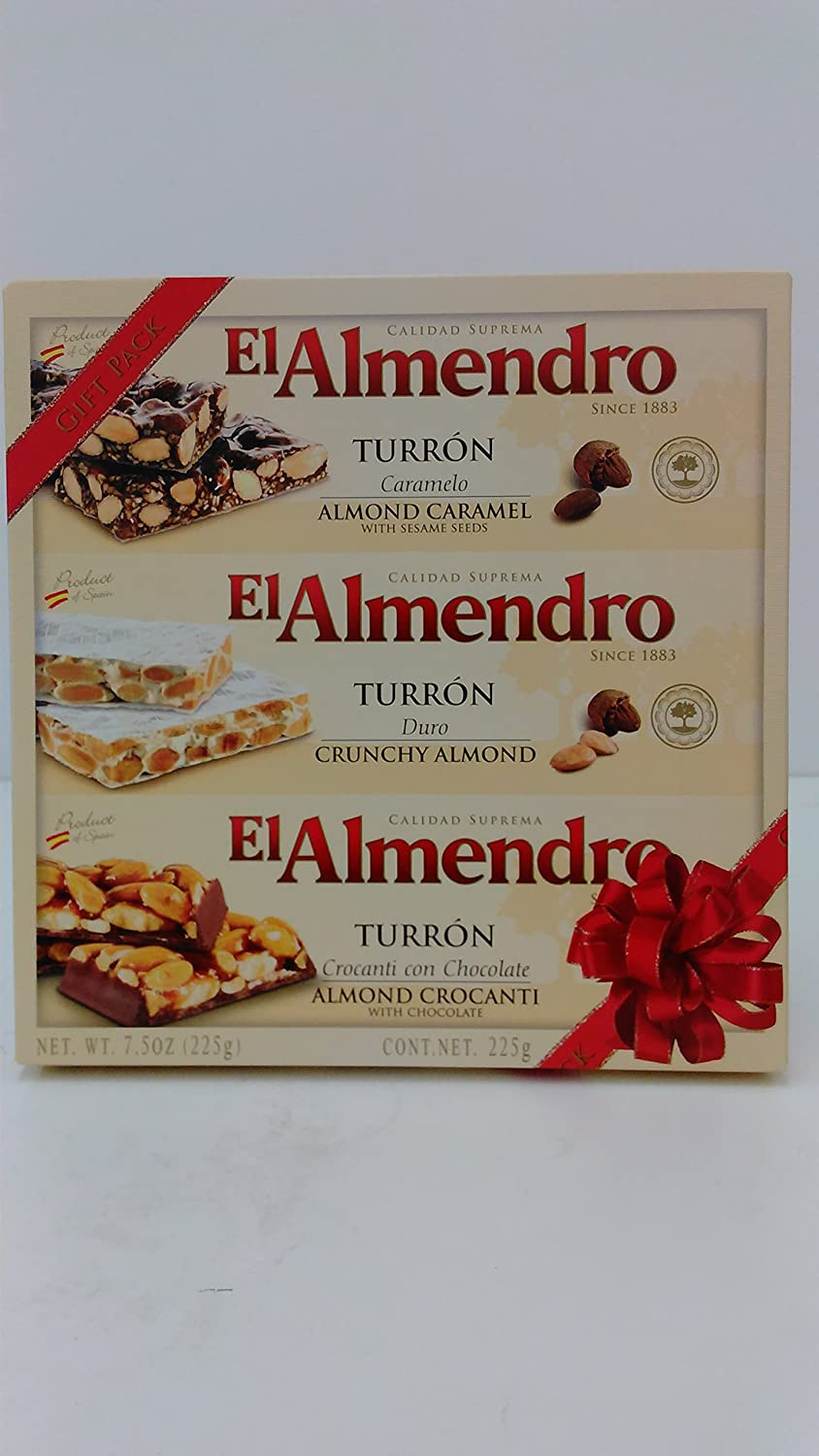 Amazon.com : El Almendro Turron Almond Candy 3 Variety Pack 7.5 Ounces Box : Gourmet Candy Gifts : Grocery & Gourmet Food