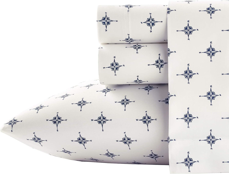 Poppy & Fritz| Percale Collection | Bed Sheet Set - 100% Cotton, Crisp & Cool, Lightweight & Moisture-Wicking Bedding, Queen, Compass