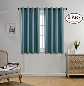 Miuco Blackout Curtains Room Darkening Curtains Textured Grommet Curtains  For Window Treatment 2 Panels 52x63 Inch