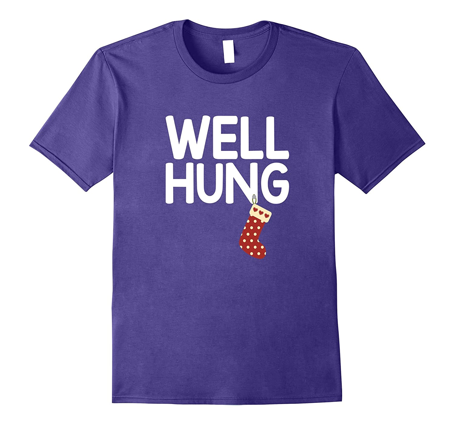 Funny Christmas Well Hung Stocking T-Shirt-T-Shirt