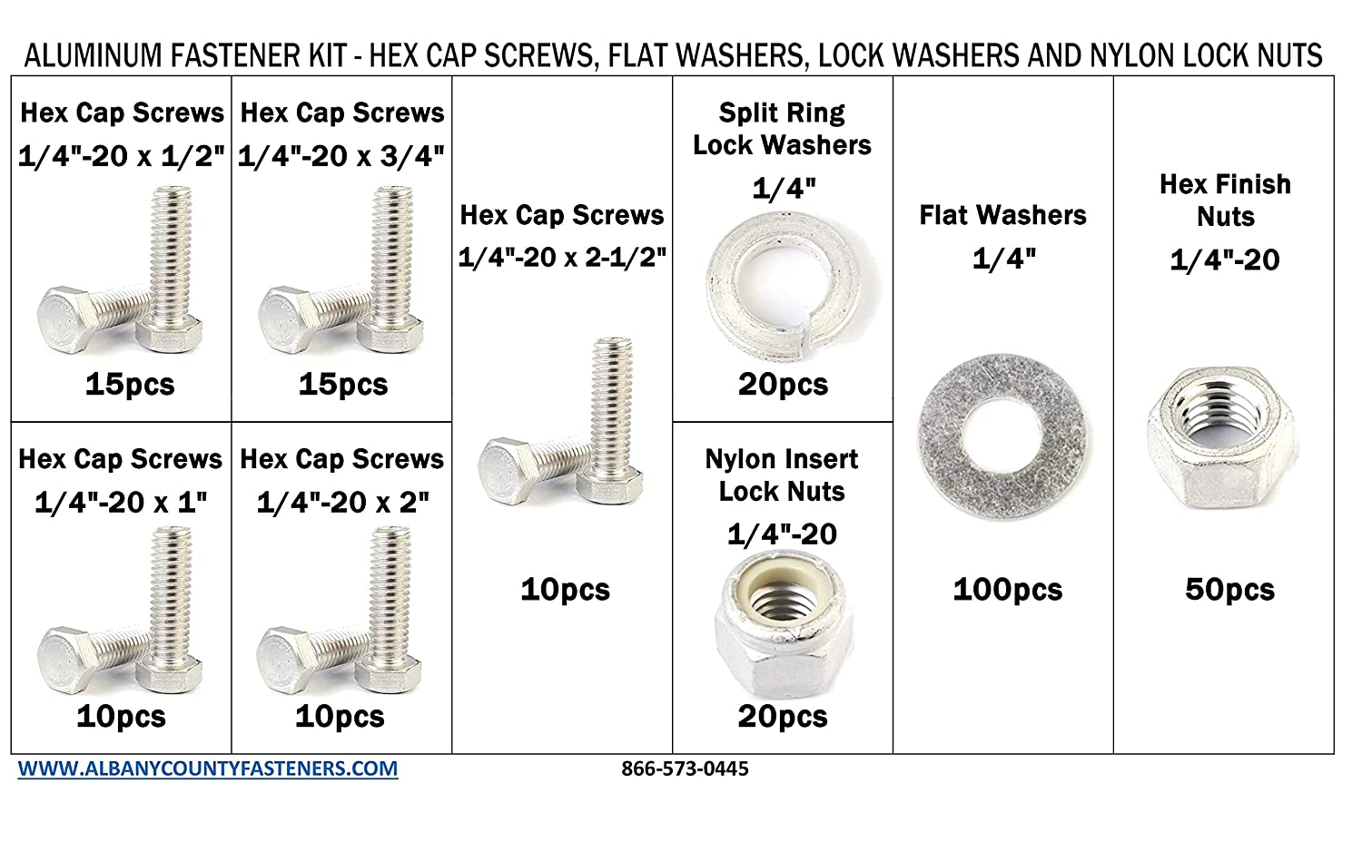 Lock Nuts Aluminum Hex Tap Bolt Kit with Matching Nuts Washers and Lock Washers 1//4-20-251 Pieces