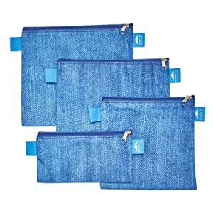 Nordic By Nature 4 Pack - Reusable Sandwich Bags Dishwasher Safe BPA Free - Durable Washable Quick Dry Cloth Baggies -Reusable Snack Bags For Kids School Lunches - Easy Open Zipper - (Blue Denim)