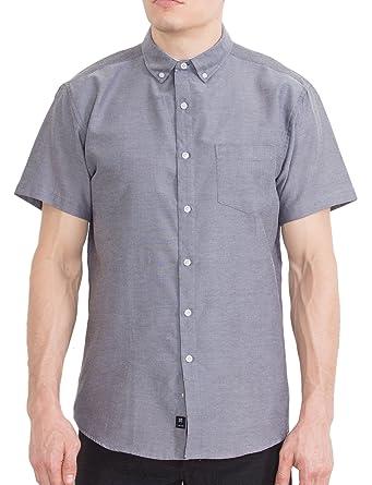 aa57e3a32e Mens Oxford Solid Short Sleeve Camisas De Hombre Casual Button Up Shirts -  Grey - Small