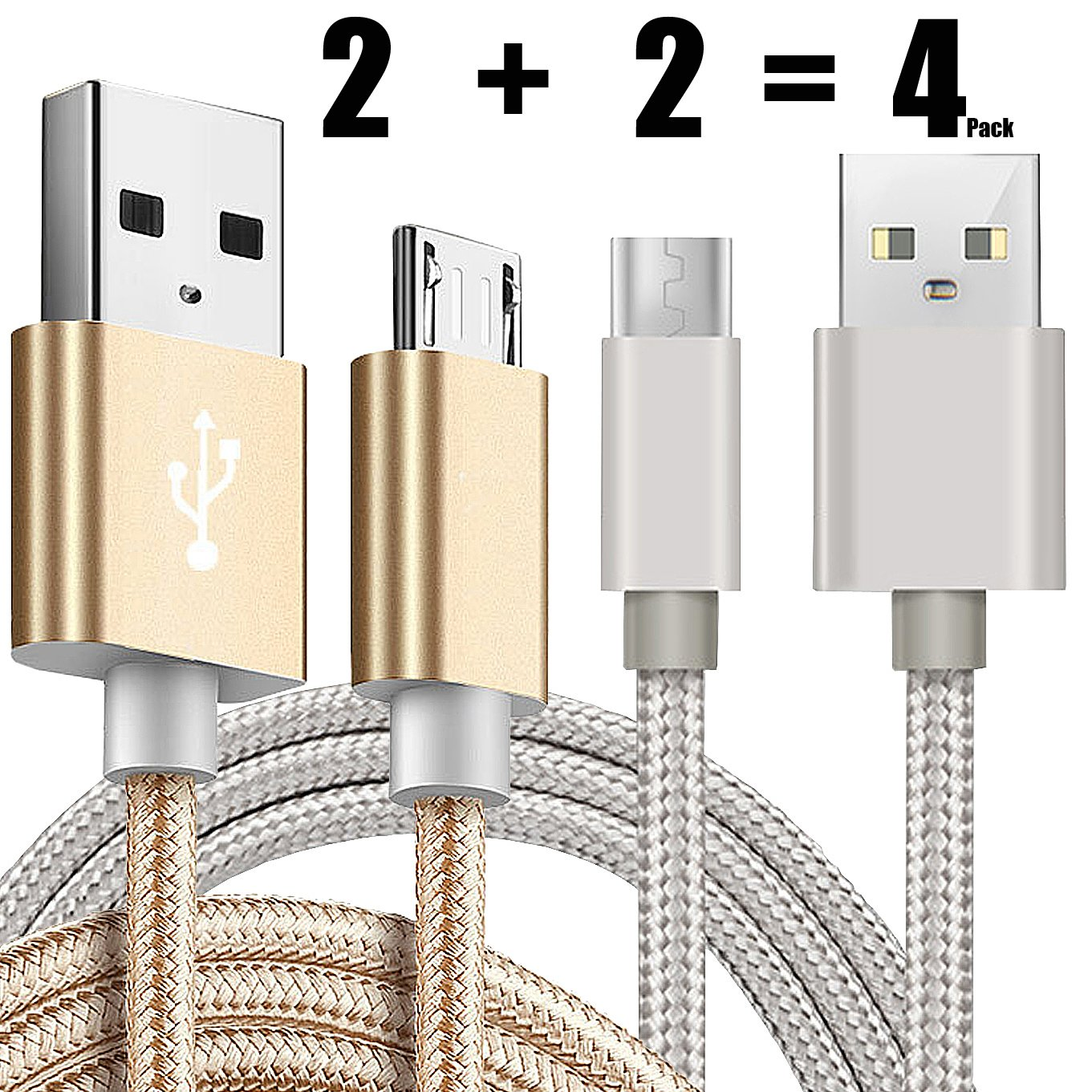 Charge Sync Data Micro USB Cable for Kindle 5FT Fast High Speed USB 2.0 A Male to Micro B for  Kindle Fire HD 3Pack HDX,Kindle Paperwhite Voyage Oasis Tap Fire Phone Xbox One-Blue+Gold