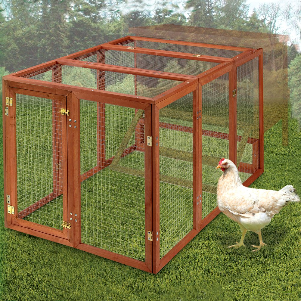 Beaks And Paws B&P Natural Wooden Large Rabbit Hutch - Ferrets House Guinea Pig Cage Small Pet House Chicken Coop Indoor/Outdoor Use (XXL, Pet Fance)