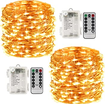 LightsEtc 2 Pack 100 Led String Lights with Remote Control Timer