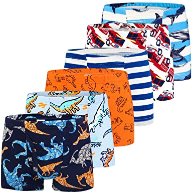 Dinosaur Truck Toddler Boys Boxer Shorts Briefs 6 Pack Baby Kids Cotton Underpants 2-9 Years Auranso Boys Underwear