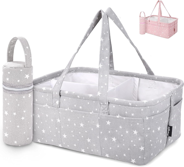 Sonline Baby Diaper Caddy Organizer Portable Holder Shower Basket Portable Nursery Storage Bin Car Storage Basket for Wipes Toys Tote Bag Light Grey