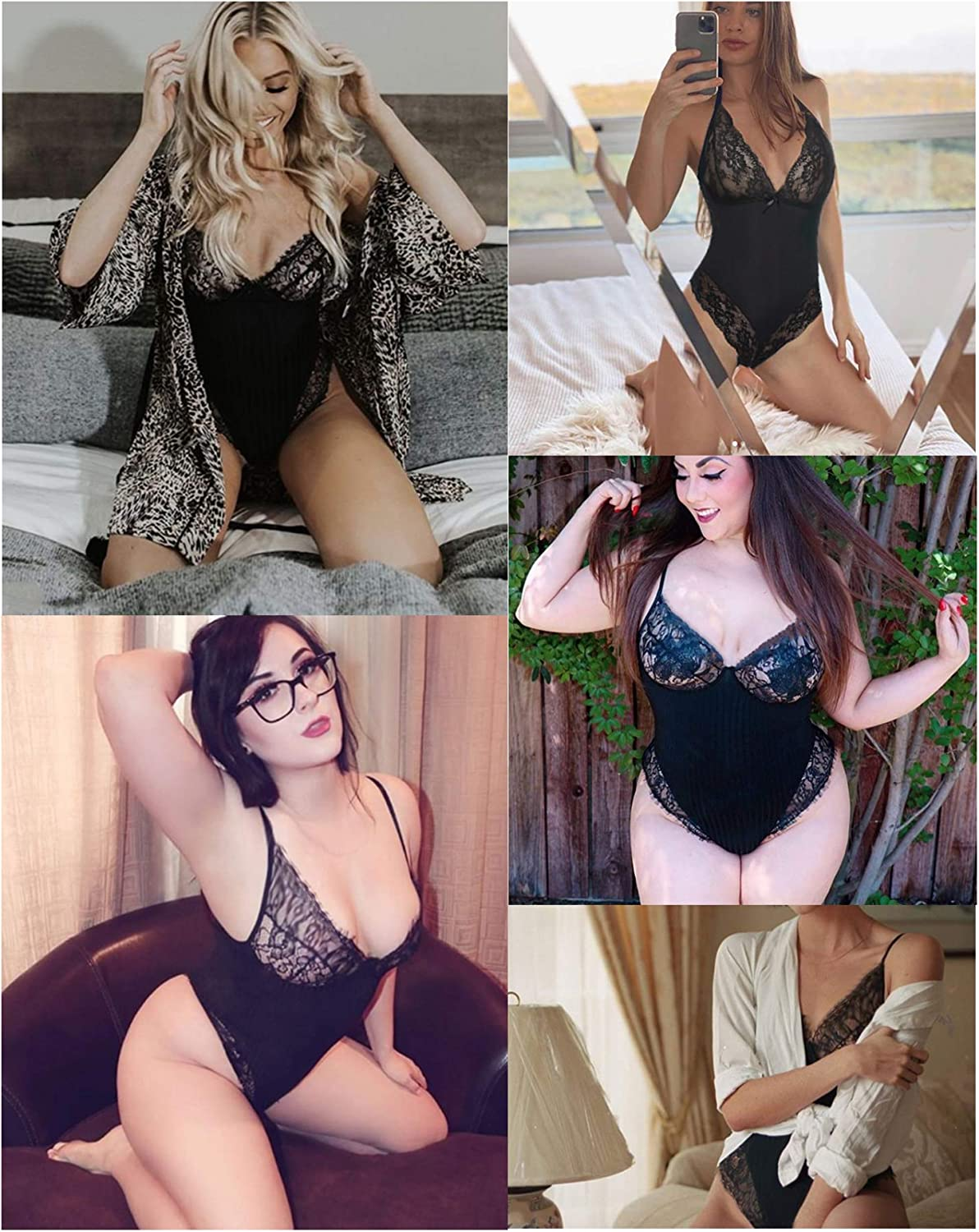 Avidlove Women Lingerie Bodysuit Snap Crotch Teddy One Piece Babydoll at  Women's Clothing store