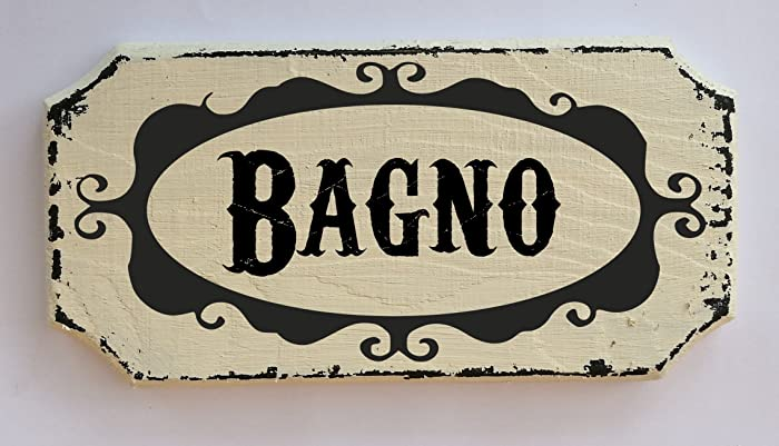TARGA INSEGNA LEGNO VINTAGE SHABBY LINEA CASA BAGNO 14X7 IDEA REGALO ...