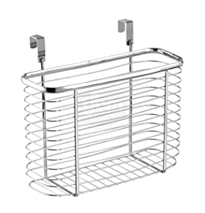 YBM HOME Ybmhome Over The Cabinet Door Kitchen Storage Organizer Holder Basket Pantry Caddy Wrap Rack for Sandwich Bags, Cleaning Supplies – Chrome 2234 (1, Medium)