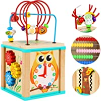 TOWO Wooden Activity Cube Beads Maze -5 Activities Roller Coaster Abacus Cog Wheels Gears Clock Zig Zag Slide-Early…